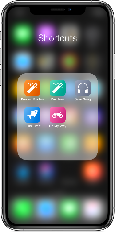 Raccourcis regroupés dans un dossier sur l'écran d'accueil iOS.