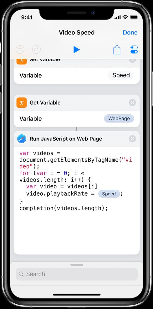 A parancsszerkesztő, amelyben egy magic-változót tartalmazó JavaScript futtatása weboldalon művelet látható.