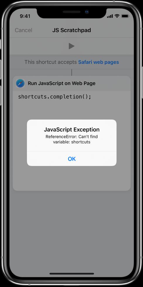 A parancsszerkesztő, amely a JavaScript-kivétel hibaüzenetet jeleníti meg.