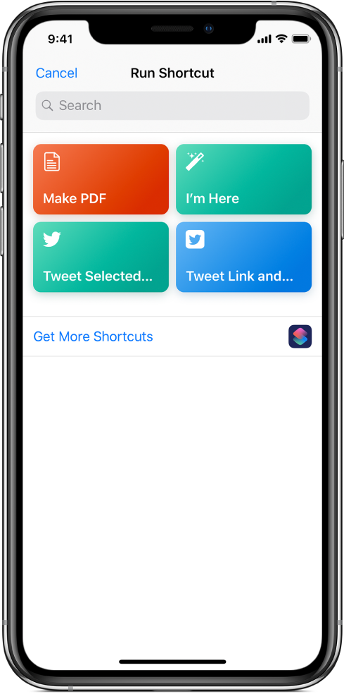사용 가능한 단축어를 표시하는 단축어 실행 화면.