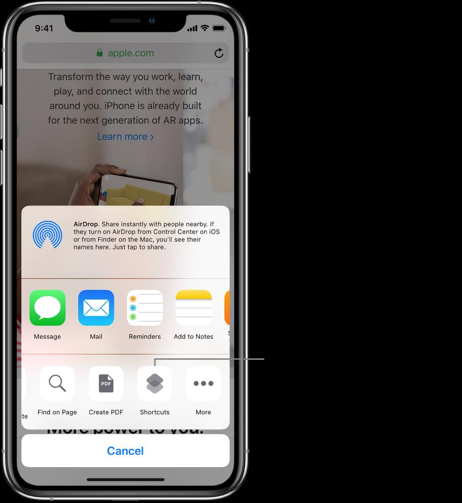 Safari 앱의 공유 시트에 있는 단축어 버튼.