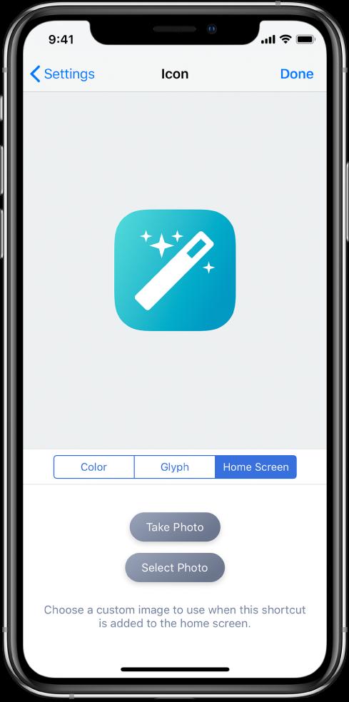Symbolinnstillinger-skjerm som viser alternativer for Hjem-skjermen.
