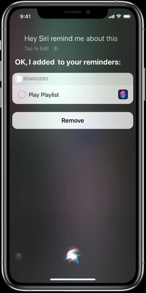 Siri-skjerm som viser at en snarvei legges til i påminnelsene dine.