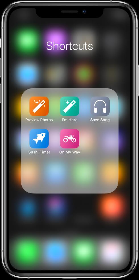 Snarveier som er gruppert i en mappe på Hjem-skjermen i iOS.