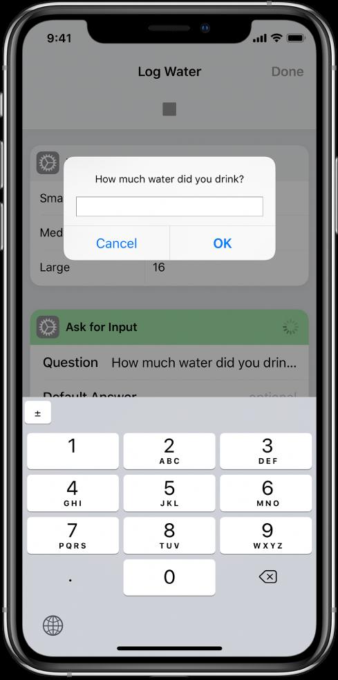 Diálogo que solicita uma entrada numérica ao usuário e abre um teclado numérico em vez de um teclado de texto.