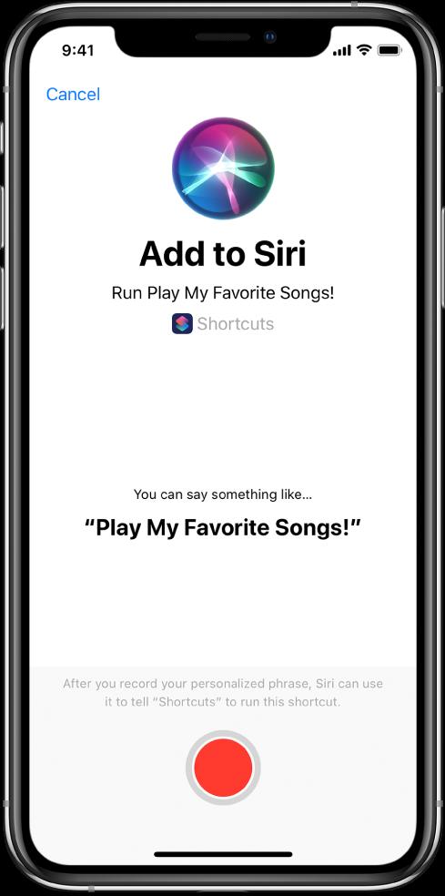 """Ecrã """"Adicionar a Siri"""" com botão de gravação."""