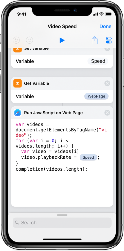捷徑編輯器顯示包含「神奇變數」的「在網頁上執行 JavaScript」動作。