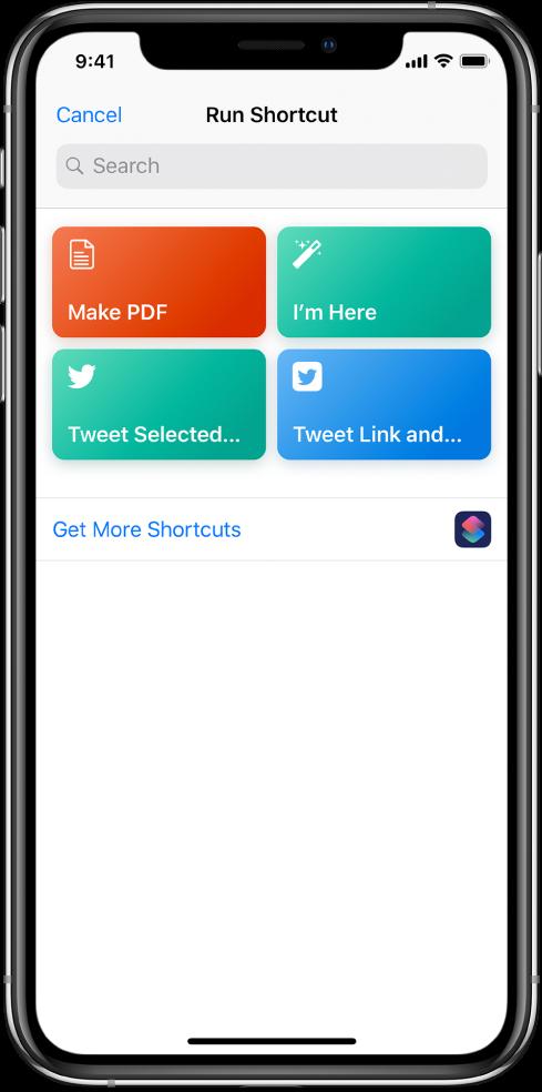 「執行捷徑」畫面顯示可用的捷徑。