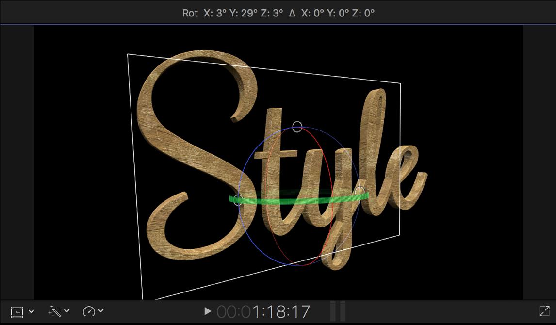 Ein 3D-Titel im Viewer, der im 3D-Raum gedreht wurde, um eine Seitenansicht zu zeigen