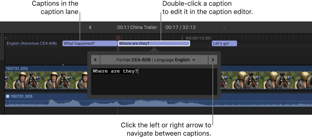 Untertitelbahn in der Timeline mit drei Untertiteln und der Untertiteleditor mit dem Text des ausgewählten Untertitels