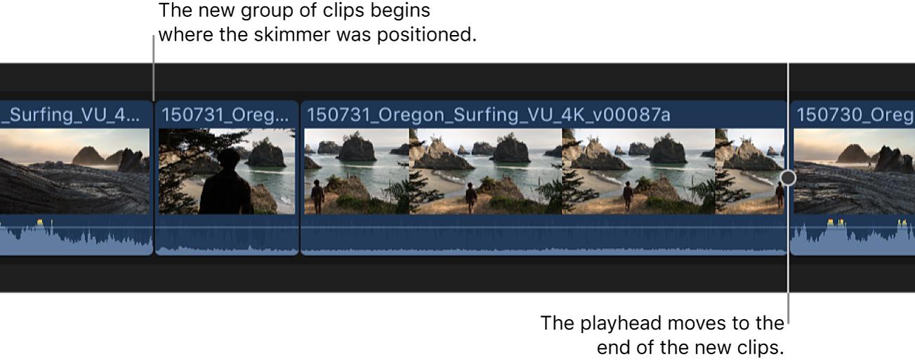 Zwei Clips in der Übersicht werden an der Skimmer-Position in die Timeline eingesetzt