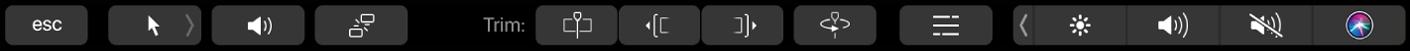 Die Touch Bar mit Steuerelementen für die Bearbeitung in der Timeline