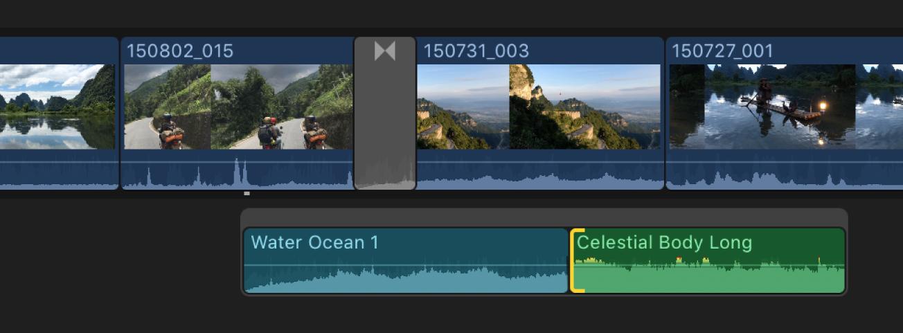 Eine ausgewählte Audioschnittmarke in einer verbundenen Handlung