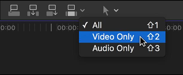 """Die Option """"Nur Video"""" im Einblendmenü """"Bearbeiten"""" über der Timeline"""