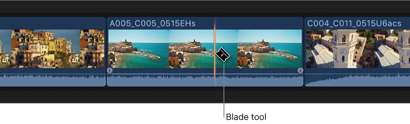 """Ein Clip in der Timeline wird mit dem Werkzeug """"Schneiden"""" geschnitten"""