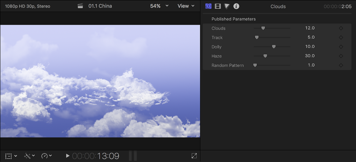 """Der Viewer links mit dem Hintergrund """"Wolken"""" und das Informationsfenster rechts mit den Einstellungen für den Hintergrundclip"""