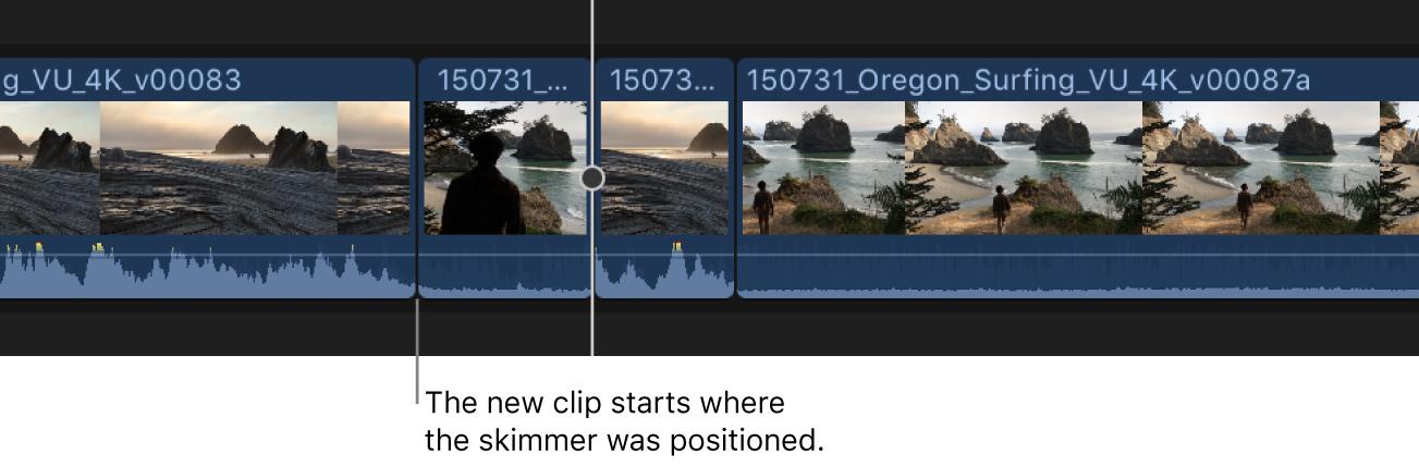 Ein angezeigter neuer Clip wird zur Timeline hinzugefügt, mit dem Endpunkt an der Skimmer-Position