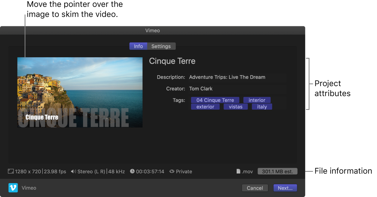 The Info pane of the Share window for the Vimeo destination