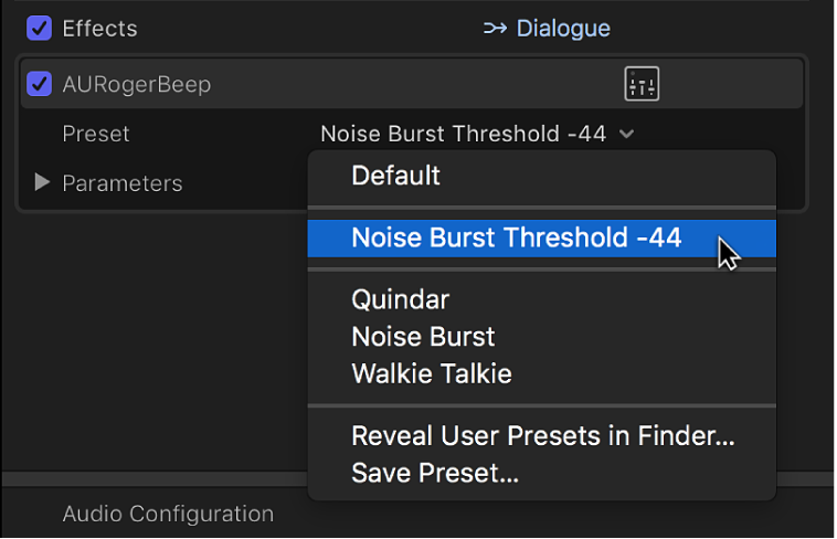 The Effects section of the Audio inspector showing a saved preset in the Preset pop-up menu