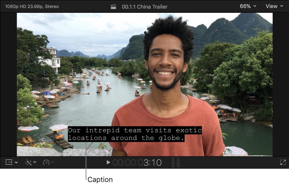 A caption in the viewer