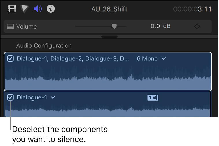 Checkboxes for audio components in the Audio Configuration section of the Audio inspector