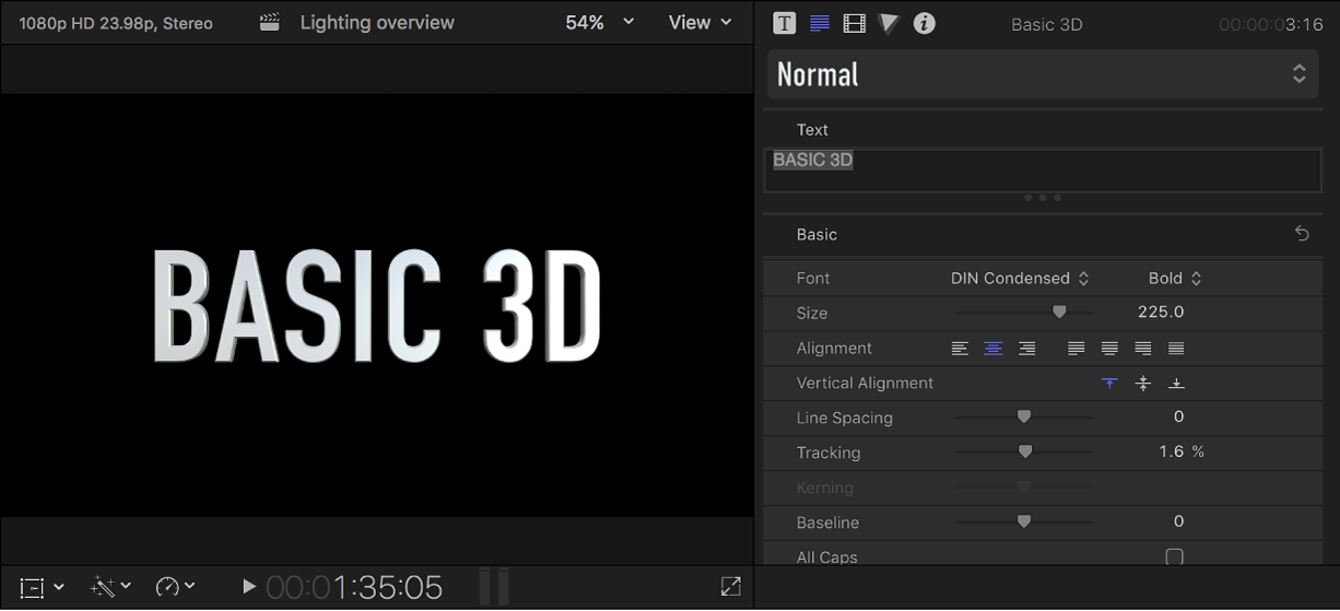 A 3D title in the viewer, with default settings shown in the Text inspector