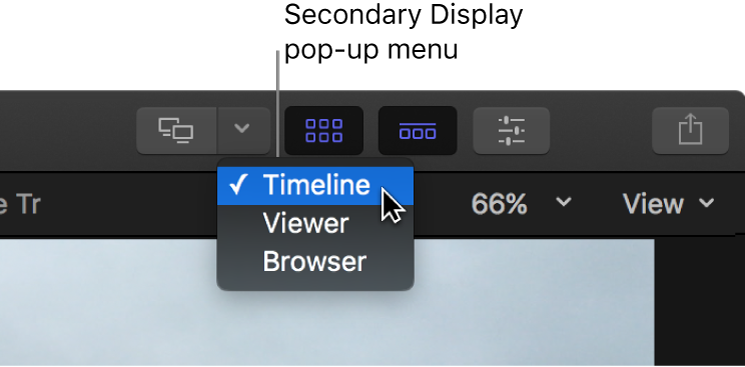 The Secondary Display pop-up menu in the toolbar