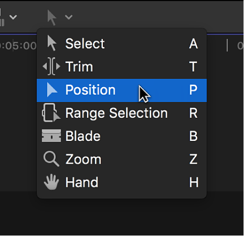 The Position tool in the Tools pop-up menu