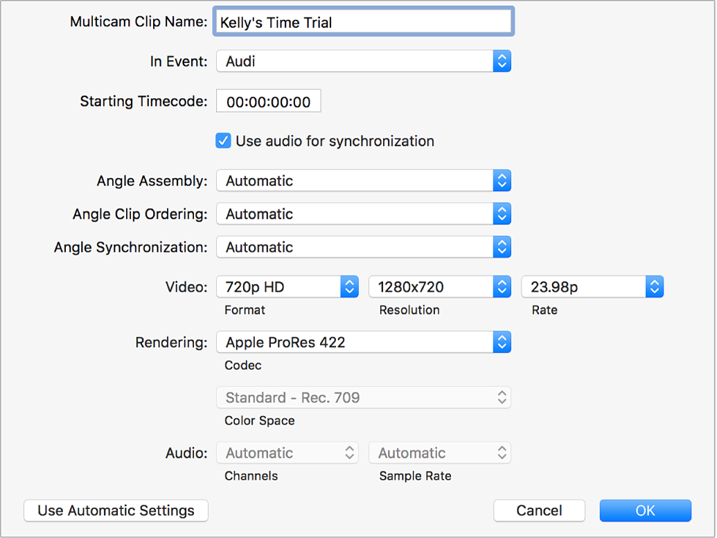 The multicam custom settings