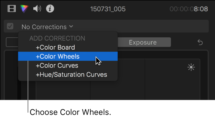Color Wheels being chosen from the Add Correction section of the pop-up menu at the top of the Color inspector