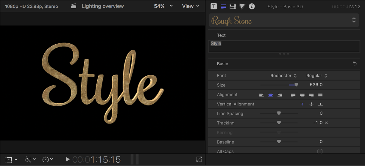 A 3D title in the viewer, with custom text settings shown in the Text inspector