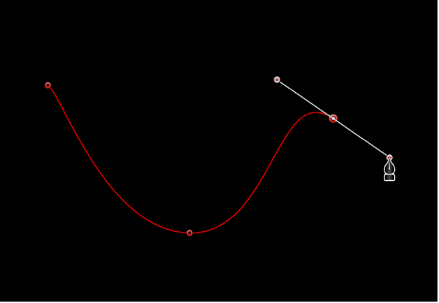 The viewer showing a curved Bezier point