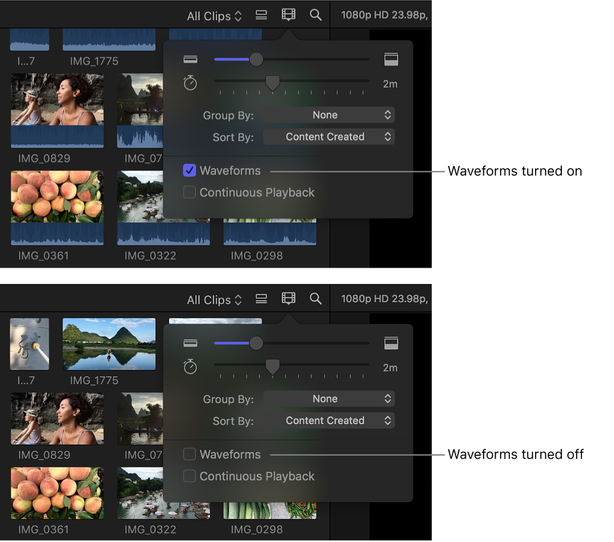 Filmstrips in the browser before and after audio waveforms are turned off using the Waveforms checkbox
