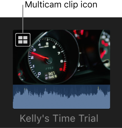 A multicam clip in the browser with a multicam clip icon in the top-left corner