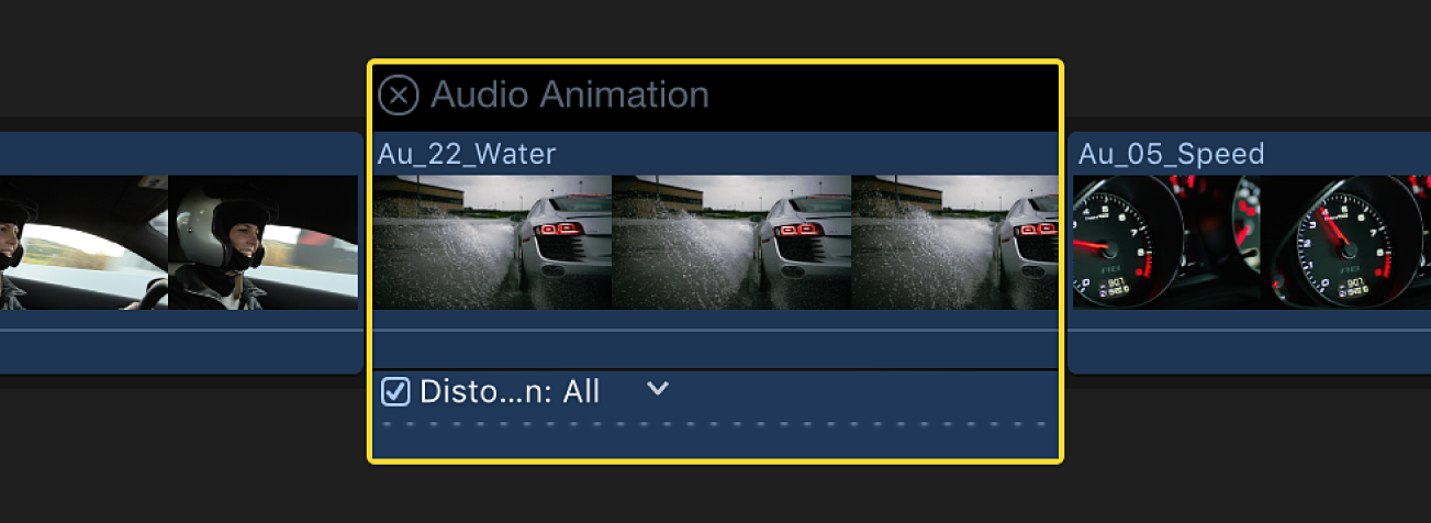 The Audio Animation editor shown above a clip in the timeline