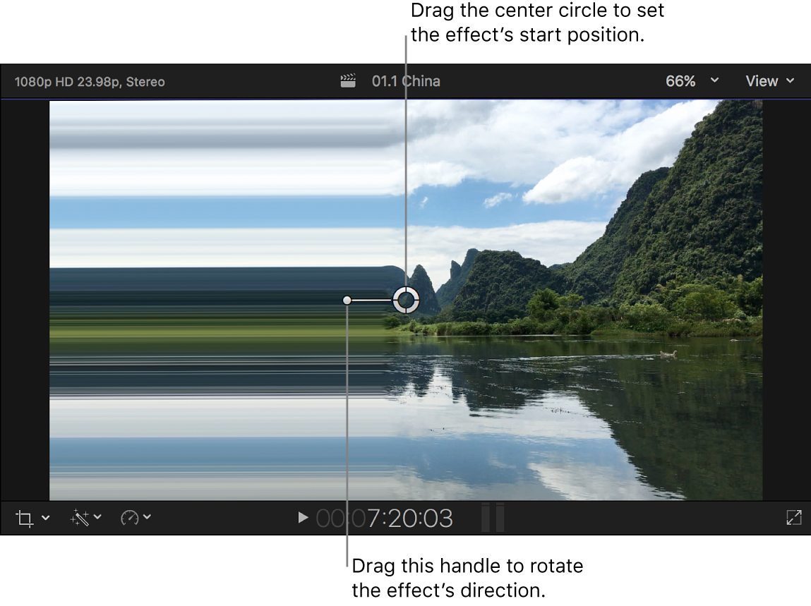 The viewer showing the Scrape effect onscreen controls