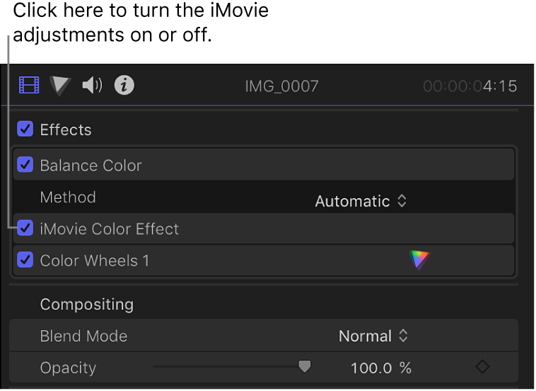 The Effects section of the Video inspector showing the iMovie Color Effect checkbox