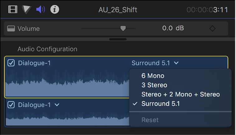 The Audio Configuration section of the Audio inspector showing channels and waveforms in the selected clip