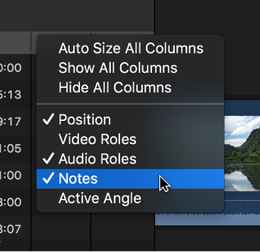 The Notes column being added to the timeline index using a shortcut menu