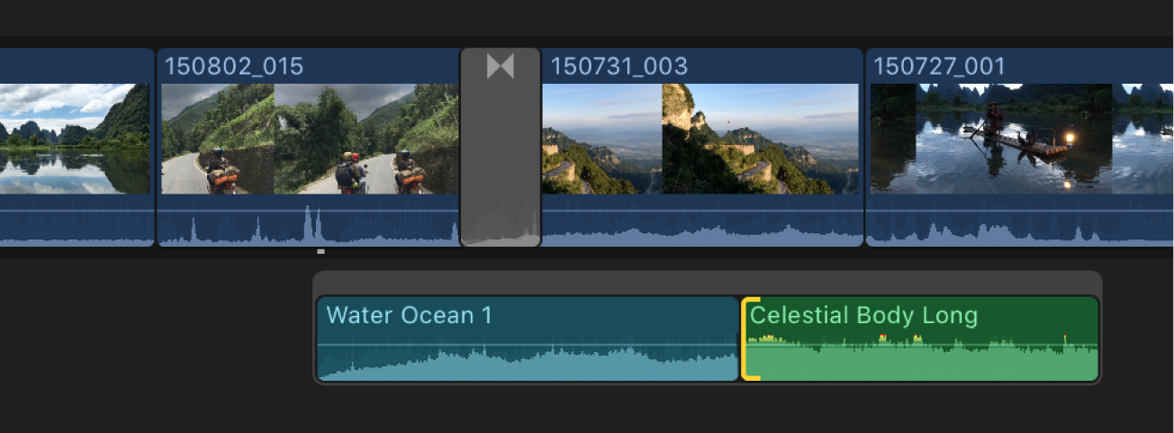 An audio edit point selected in a connected storyline