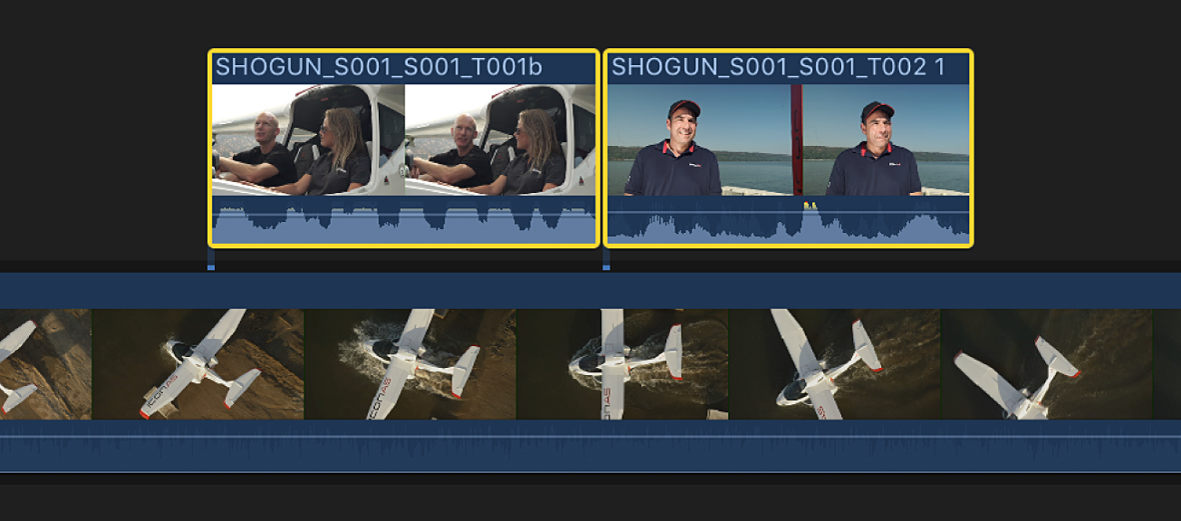 Two connected clips selected in the timeline