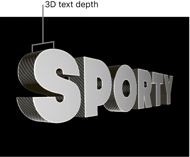 The viewer showing a 3D title from the side