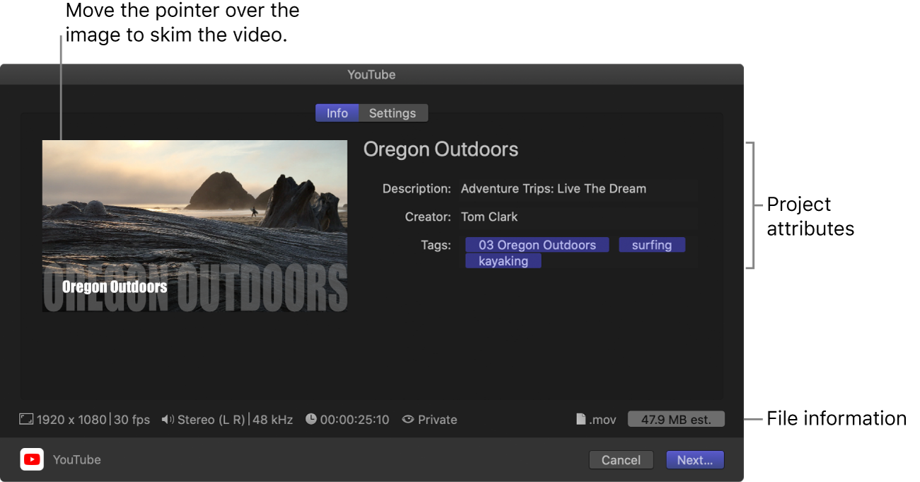 The Info pane of the Share window for the YouTube destination