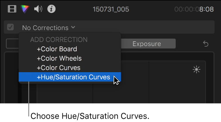 Hue/Saturation Curves being chosen from the Add Correction section of the pop-up menu at the top of the Color Inspector
