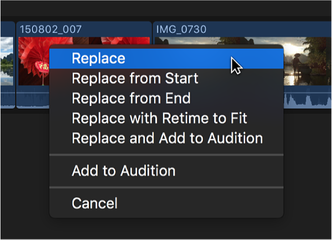 The Replace option in a shortcut menu in the timeline