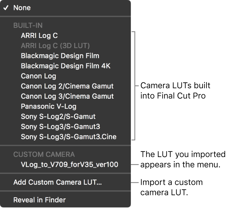 The Camera LUT pop-up menu