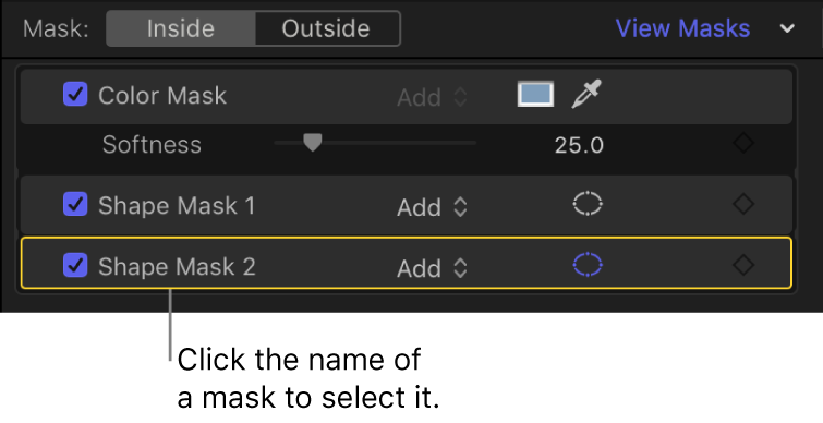 The mask section of the Color inspector showing a selected Shape Mask item