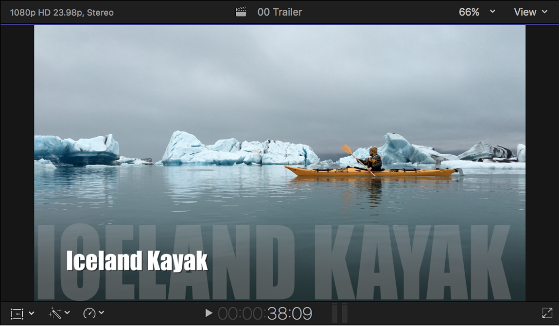 The viewer showing a trailer with title text at the bottom of the screen