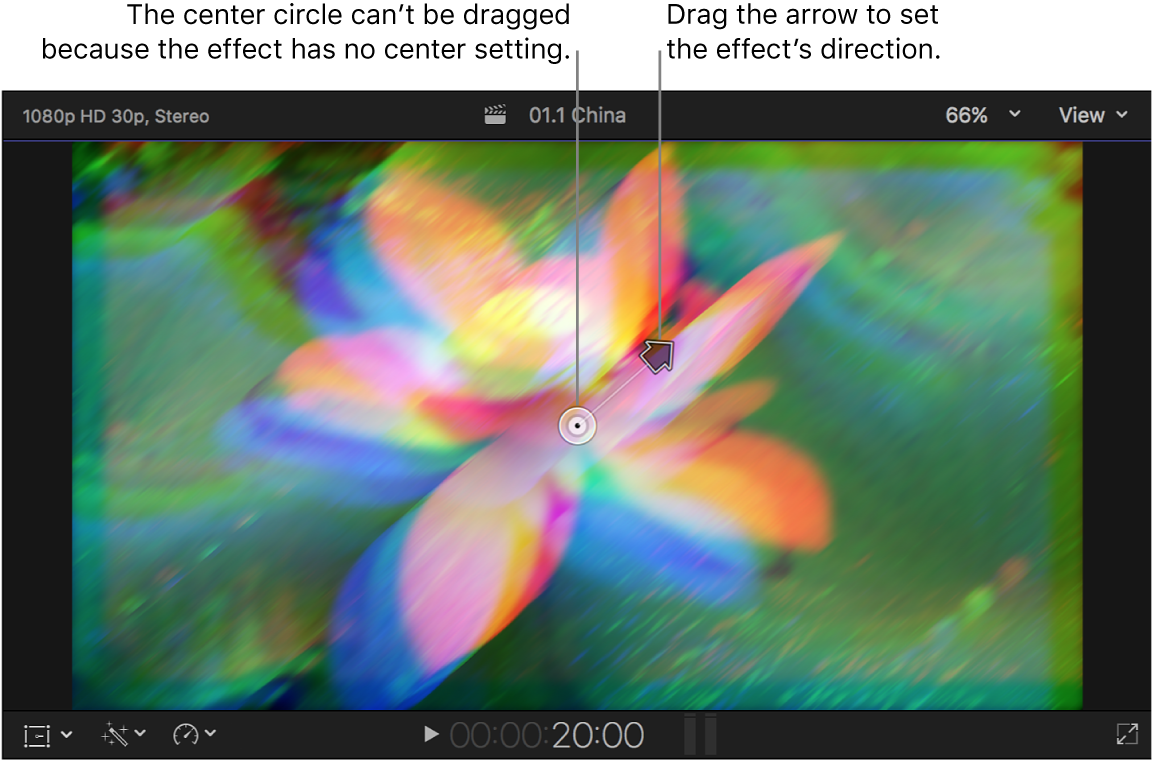 The viewer showing the Prism effect onscreen controls