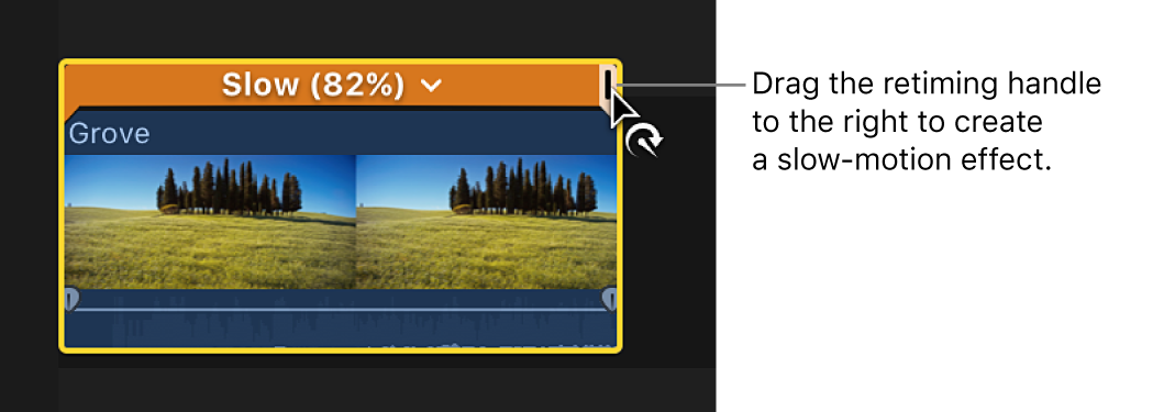 The retime editor above a clip in the timeline, with the retiming handle being dragged right to create slow motion and the bar above the selection appearing orange